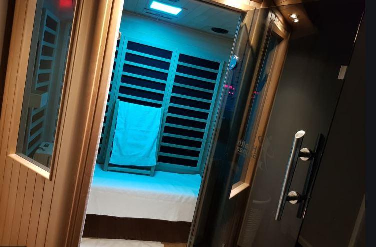 far infrared sauna with blue light