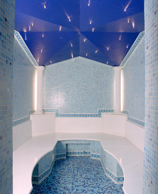 Shows inside of a blue coloured large Ceramic Steam Bath
