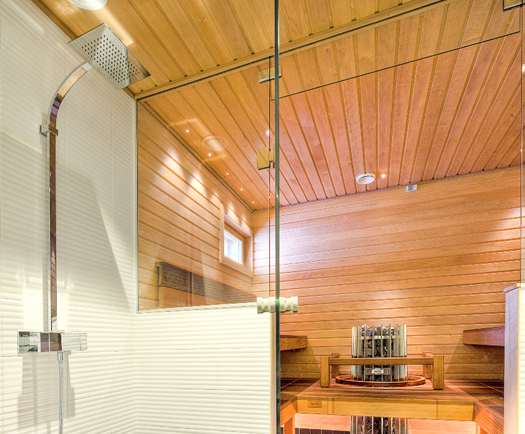 Interior View of a Large Steam Shower Room